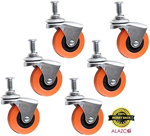 6 Pack Creeper Wheels 2.5 Inch Heavy Duty Swivel Caster Wheel Creeper Service Cart Stool Post Mount M10 x 1 Metric Threaded Stem Casters Wheels Replacement Around 3//8