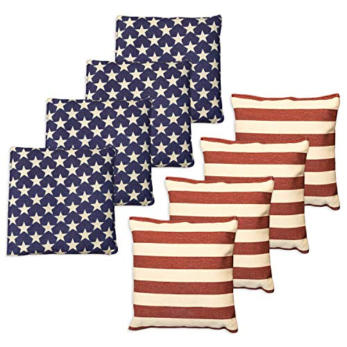 Barcaloo Cornhole Bean Bags Set of 8 - Weather Resistant Duck Cloth, Regulation Size & Weight - Stars & Stripes