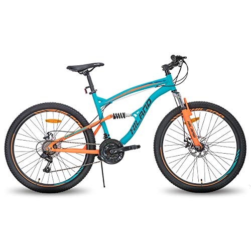 Hiland 26 Inch Mountain Bike for Men, 21-Speed MTB Bicycle 18 Inch Dual-Suspension Urban Commuter City Bicycle, Blue&Orang