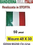 ARDITO MICHELE 50 BANDIERINE Bandiera Italia Italiana Tricolore in Tessuto 48 x 30 cm Poly Lucido Acetato con Asta