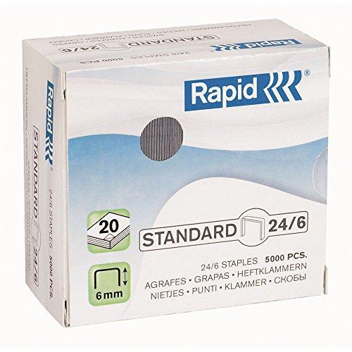 Rapid 24859800, Grapas - 5000 unidades, 24/6 mm, hasta 20 Hojas, Modelos Aleatorios