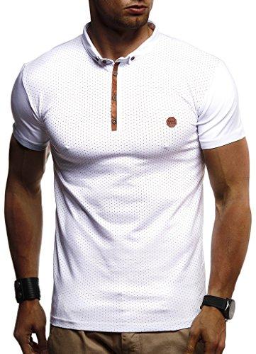 Leif Nelson Herren Sommer T-Shirt Polo Kragen Slim Fit Baumwolle-Anteil Basic schwarzes Männer Poloshirts Longsleeve-Sweatshirt Kurzarm Weißes Kurzarmshirts lang LN1295 Weiß Large