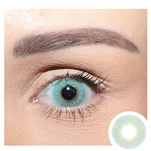 Premium Jahreslinsen stark deckende natürliche Hidrocor farbige Kontaktlinsen Topaz - türkis blau I ohne Stärke I 0.00 Dioptrien I 1 Paar (2 Stück) I DIA 14.20