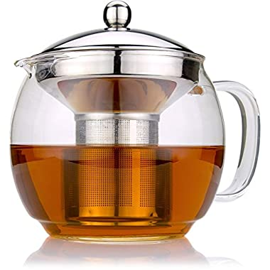 Glass Teapot 1.5L, with Infuser for Blooming and Loose Leaf Tea Pot by Cozyna | Holds 5-6 Cups | Includes Recipe Book