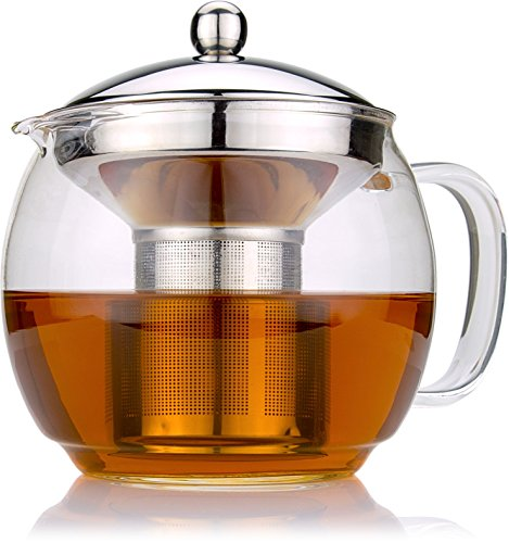 Glass Teapot with Infuser for Blooming and Loose Leaf Tea Pot by Cozyna   Holds 3-4 Cups   Includes Recipe Book