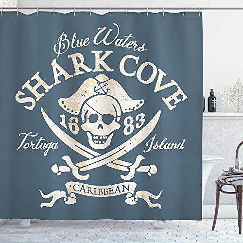 wobuzhidaoshamingzi Piraten-Duschvorhang von Shark Cove Tortuga Island karibischen Gewässern Retro Jolly Roger, Slate White Light Senf
