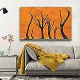 ganlanshu Pintura sin Marco Lienzo de árbol Abstracto Arte del Desierto Cartel Imagen decoración Pintura Sala de Estar muralZGQ5650 50X75cm