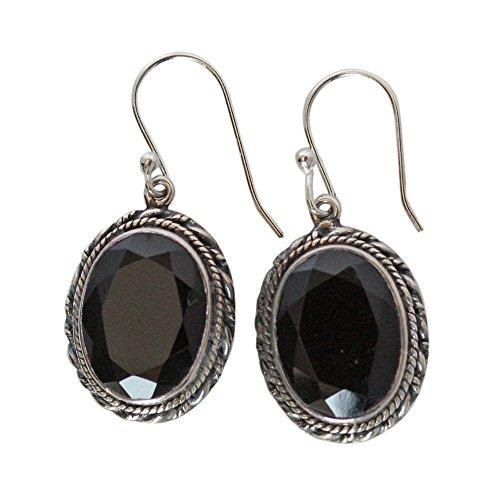 Pendientes de plata de ley 925 con piedra de ónix negro para niñas FSJ-22