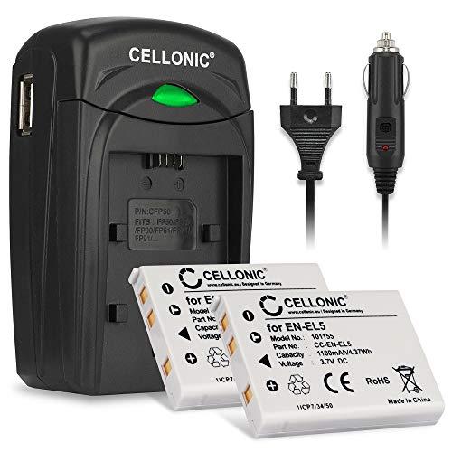 CELLONIC 2X Batería Compatible con Nikon Coolpix P510 P520 P530 P500 P100 P90 P80 P6000 P51000 P4 P3 CoolPix S10 3700 7900 5900 5200 4200 Pila EN-EL5 Cargador MH-61 alimentador Coche Carga automóvil