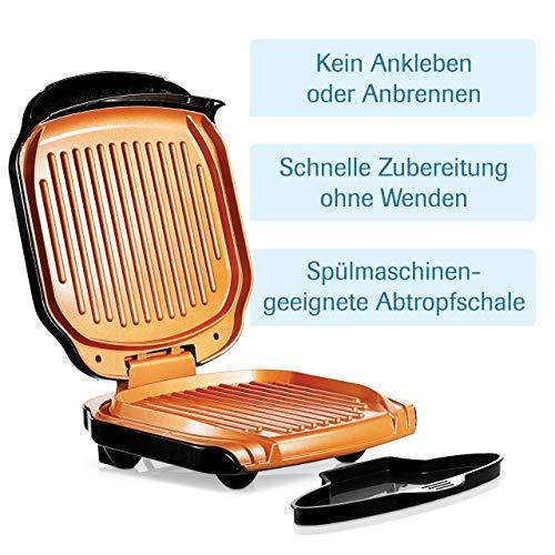 MediaShop Livington Low Fat Grill – kompakter Kontaktgrill für fettarmes Grillen – Elektrogrill mit Antihaft-Keramikbeschichtung und Fettablauf - 3