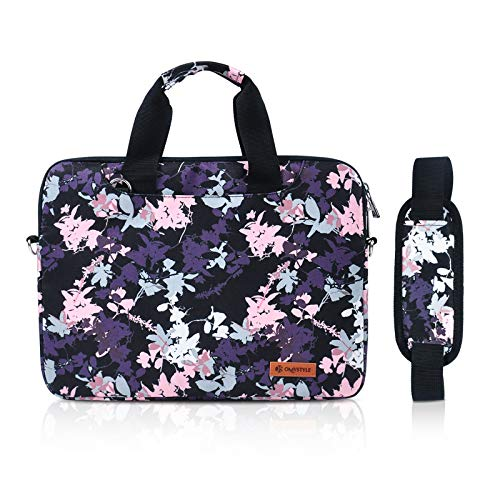 OMYSTYLE 14 Inch Laptop Bag, Waterproof Printing Laptop Messenger for Women, Laptop Shoulder Bags for 13-14 Inch 2020 MacBook Air/Pro Surface HP DELL ASUS ACER, Purple Flower