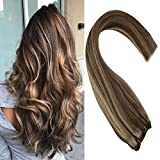 Sunny 20inch Highlight Sew in Hair Bundles Human Hair #4 Dark Brown with #27 Caramel Blonde 100% Real Hair Weft Extensions 100g/Bundle
