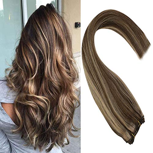 Sunny 24inch Brown Sew in Hair Extensions Human Hair 7A Quality Highlight Caramel Blonde Brazilian Weft Hair Bundles Remy Hair 100g One Bundle