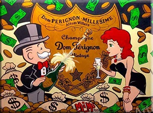 Amazon Com Lzsart Hd Printed Oil Paintings Home Wall Decor Art On Canvas Alec Monopoly Dom Perignon Celebration 1size 008 Framed 12x16inch Posters Prints