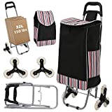Wesoky Shopping Cart Stair Climber, 2-in-1 Folding Grocery Laundry Utility Cart Hand Truck 150 lbs with Handle and Detachable Shopping Bag (US Stock) (Black)