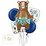 Andaz Press Balloon Bouquet Party Kit with Gold Cards & Gifts Sign, We Can Bearly Wait It's a Boy Bear Themed Bouquet Foil Mylar Balloon Decorations, 1-Set