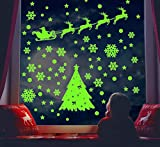 Christmas Wall Stickers Glow in The Dark Snowflake Decals Reindeer Santa Claus Stars 162pcs Stickers for Holiday Celebration Merry Christmas Decorations Winter Frozen Theme Party Snow Xmas Home Decor