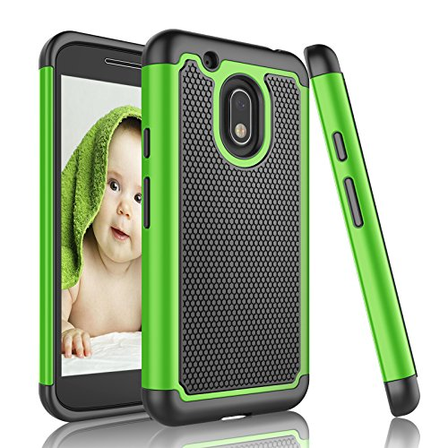 Njjex Moto G4 Play Case, for Moto G Play Case, [Nveins] Shock Absorbing Hybrid Dual Layer Rubber Plastic Impact Armor Defender Bumper Rugged Hard Case Cover for Motorola G4 Play XT1607 [Green/Black]