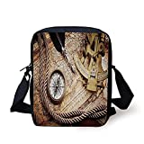 Compass,Vintage Navigation Voyage Theme Lifestyle Image with Sextant and Compass Discovery Tools,Cream Print Kids Crossbody Messenger Bag Purse