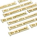 Sticky Reminders Pegatinas Decorativas Reutilizables Frases Motivadoras en Madera Set de Adhesivos Vintage Frases Positivas e Inspiradoras en Español Para Autoayuda Desarrollo Personal Autoestima