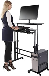 Height Adjustable Stand Up Computer Desk, Mobile Standing Computer Workstation Home Office Desk with Wheels and Host Shelf, Black