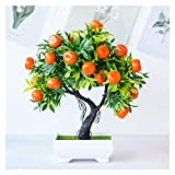 LINMAN Bonsai Artificial Plants Mandarin Orange blooming Fruit Tree Potted for Home/garden/wedding decoration fake plant craft supplies (Color : A)