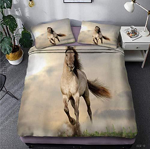La ropa de cama 3D es súper suave y cómoda. Gris oscuro nubes verde prado animal caballo paisaje 135 x 200 CM Juego de funda nórdica Juego de ropa de cama doble tamaño Queen King Size Juego de sábanas