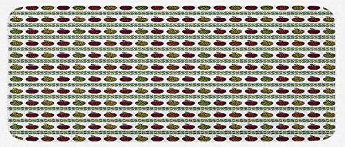 HARXISE Tappeto Antiscivolo,Mele, Frutti zebrati orizzontalmente e Strisce a Strisce, Multicolore,da Usare Come zerbino o per Soggiorno,Camera da Letto,corridoio,Cucina