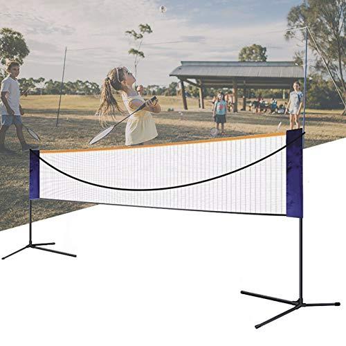 APOE Badminton Netz mit Ständer, Volleyball Netz für Garten, Tragbares Badminton-Set 5m/6m, Höhe und Breite Einstellbar, Gut auf- und Abzubauen