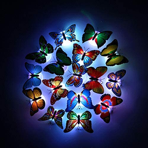 Pack of 18 3D Flash Glow Butterfly Wall Stickers Optical Fiber Butterfly for Kids Room Bedroom product image