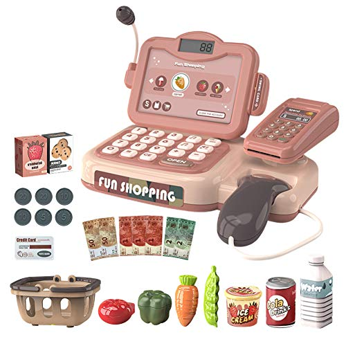 SeedSeat Pretend Play Cash Register for Kid with Calculator, Scanner, Scale, Play Money, Credit Card Reader and Groceries for Kids,Early Childhood Education Toy