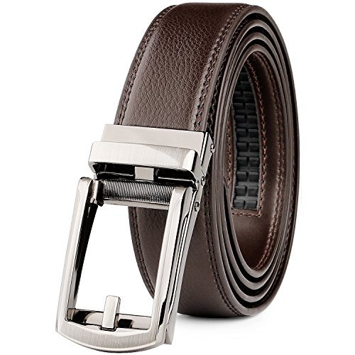 WERFORU Leather Ratchet Dress Belt for Men Perfect Fit Waist Size Up to 50 Inches with Automatic Buckle,02Style 1 - Coffee,Suit Pant Size 30-44 Inches
