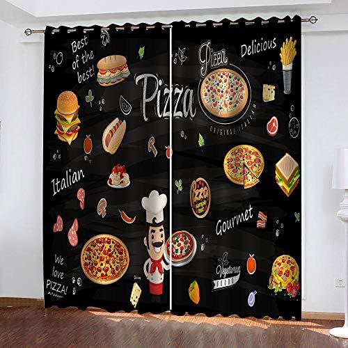 Gardinen Blickdicht Pizza Burger Verdunklungsgardine Ösen Gardinen Vorhang Polyester Blickdicht Kälte-und Wärmeisolierung Isolierung Gardine Schlafzimmer 2er Set