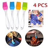 FASFSAF 4 Pieces Barbecue Silicone Brush, Heat-Resistant Baking Tray Silicone Brush Home Kitchen Outdoor BBQ Grill Cooking,Easy to Clean,Use Long Time