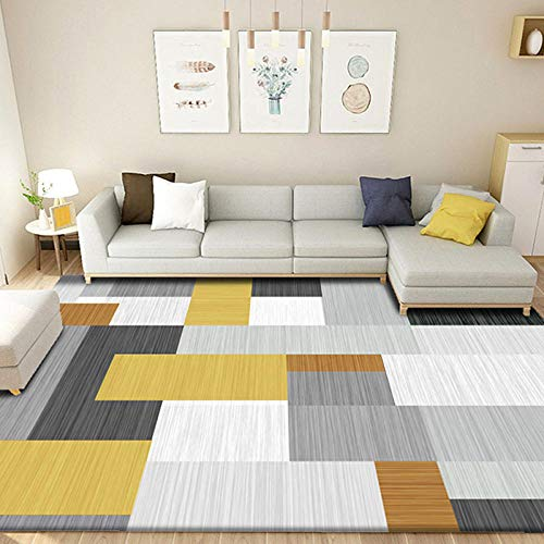 HXJHWB Alfombra de salón tradicional – amarillo negro blanco gris a rayas costura interior alfombra simple impresión 3d 80 cm x 120 cm