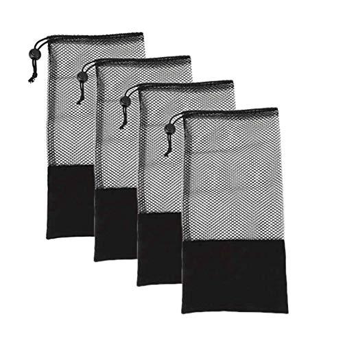 Jeromeki 4 Piezas Bolso de la Malla de la Correa de la Tensión de la Aptitud, Adecuado para Cinturón Tensor Bola de Cinturón de Yoga, Centro Negro