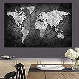 Said - Mapa del mundo abstracto para pintar sobre dinero, impresión sobre lienzo, decoración de pared, 50 x 75 cm, sin marco