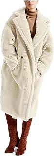 DJBM Women's Fleece Lapel Oversized Long Cardigan Coat Faux Fur Warm Winter Outwear with Pocket