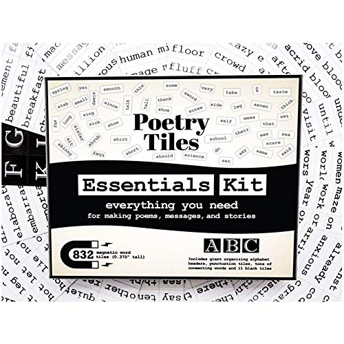 Poetry Tiles - 832 Essential Word Magnets Starter Kit for Refrigerator Poems and Stories - Includes Alphabet Headers, Punctuation, and Blank Tiles