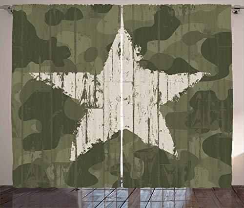 ABAKUHAUS Tarnen Rustikaler Gardine, Grunge Stern auf Grün, Schlafzimmer Kräuselband Vorhang mit Schlaufen und Haken, 280 x 175 cm, Dunkelgrün Sand