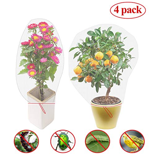 Sfit 4/100Pcs Sacs de Filet de Jardin, Sacs de Protection des Fruits en Nylon Réutilisable avec Cordon de Serrage pour Jardin, Fleurs, Fruits, Insectes, Moustiquaires, Plantes, 105x70cm