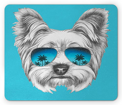 Ambesonne Yorkie Mouse Pad, Yorkshire Terrier Portrait with Cool Mirror Sunglasses Hand Drawn Animal Art, Rectangle Non-Slip Rubber Mousepad, Standard Size, Blue White