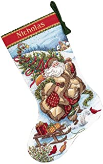 Dimensions Counted Cross Stitch 'Santa's Journey' Personalized Christmas Stocking Kit, 18 Count White Aida, 16''