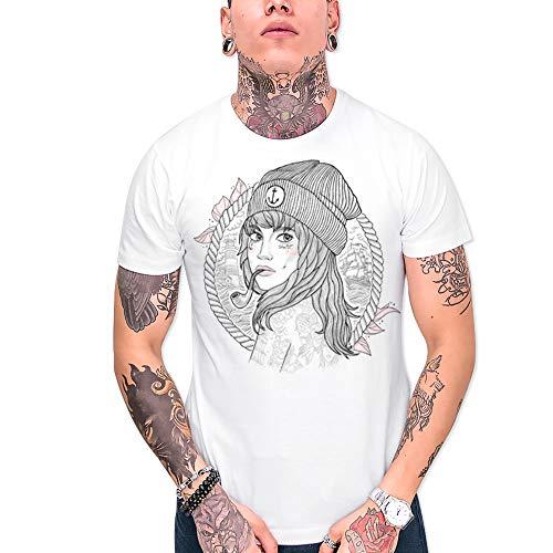 VIENTO Woman Captain Herren T-Shirt (Weiß, Large)
