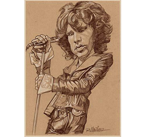 Die Türen Jim Morrison Vintage Retro Rockband Musik Gitarre Leinwand Print Poster Wandaufkleber Home Decor Wanddekoration 42X30Cm Ohne Rahmen