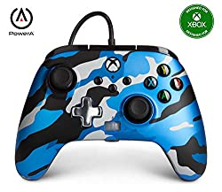Ergonomic video game controller with standard button layout including new Share button Wired controller features dual rumble motors and mappable Advanced Gaming Buttons Diamond-texture grip on back and metallic d-pad on front Headset Dial for game au...
