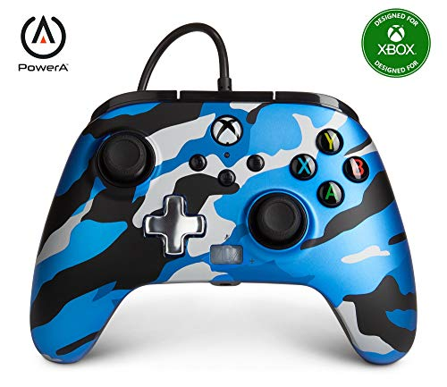 PowerA Enhanced Wired Controller for Xbox - Metallic Blue Camo, Gamepad, Wired Video Game Controller, Gaming Controller, Xbox Series X|S