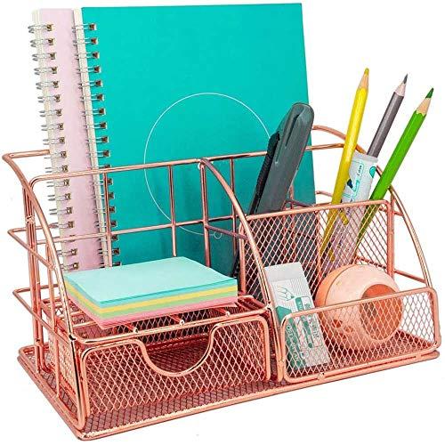 Laiashley Organizador de escritorio de oro rosa con cajón, organizador de oficina, soporte para lápices, organizador de escritorio de malla para escuela, oficina, hogar
