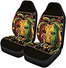 Semtomn Set of 2 Car Seat Covers Lion Rasta Full Color Fun Head Music Universal Auto Front Seats Protector Fits for Car,SUV Sedan,Truck