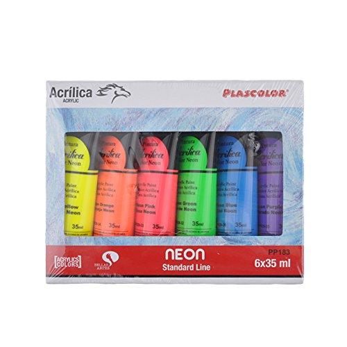 - Pack de 6 tubos de pintura acrílica, multicolor